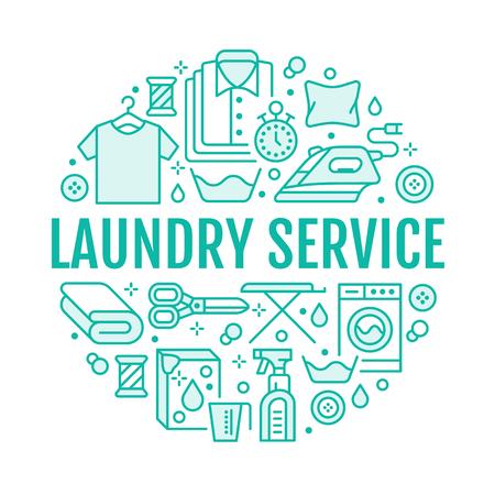 Limpieza en seco, ilustración de banner con iconos de línea plana. Equipo de servicio de lavandería, lavadora, reparación de calzado de cuero, vaporización de prendas. Cartel de lavandería de signos lineales finos de plantilla de círculo
