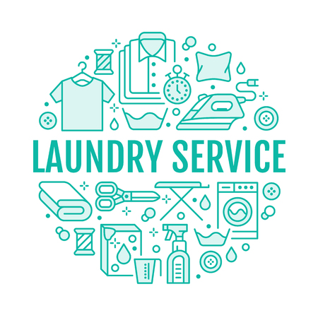 Dry cleaning, banner illustration with flat line icons. Laundry service equipment, washing machine, clothing shoe leather repair, garment steaming. Circle template thin linear signs launderette poster