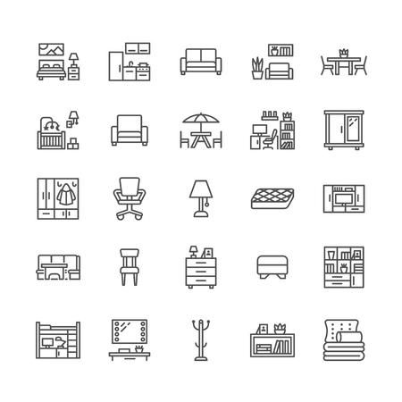 Meubels vector platte lijn pictogrammen. Tv-standaard in de woonkamer, slaapkamer, thuiskantoor, keukenhoekbank, bank, kinderkamer, eettafel, beddengoed. Dunne bordencollectie voor interieurwinkel. Pixel perfect 64x64.
