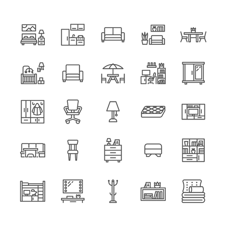 Furniture vector flat line icons. Living room tv stand, bedroom, home office, kitchen corner bench, sofa, nursery, dining table, bedding. Thin signs collection for interior store. Pixel perfect 64x64.