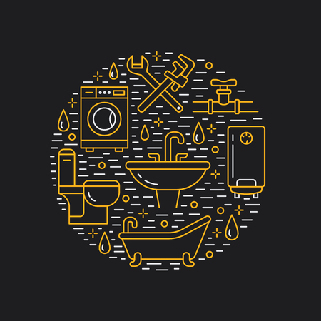 Plumbing service banner illustration. Vector line icon of house bathroom equipment, faucet, toilet, pipeline, washing machine, water boiler. Plumber repair circle template, black white poster.