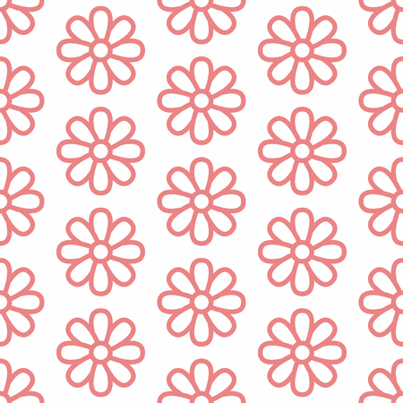 Floral seamless pattern with flat line icons of daisy chains. Flower background beautiful garden chamomile plant. Pink white color texture for kids fabric. Illustration