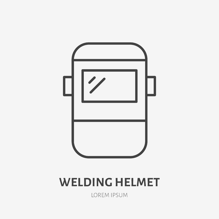 Welder helmet flat line icon. Safety metal works sign. Thin linear logo for welding services. Illustration