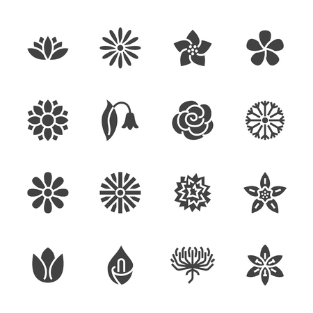 Flowers flat glyph icons. Beautiful garden plants - chamomile, sunflower, rose flower, lotus, carnation, dandelion, violet blossom. Signs for floral store. Solid silhouette pixel perfect 48x48.