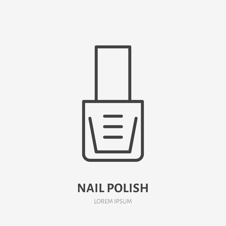 Nail polish flat line icon. Beauty care sign, illustration of manicure. Thin linear logo for cosmetics store.