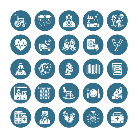 Iconos de glifo plano de vector de cuidado de ancianos. Actividad de ancianos de elementos de hogar de ancianos, silla de ruedas, chequeo médico, botón de llamada del hospital, abuelo, abuela, médico. Pixel de silueta sólida perfecto 64x64.
