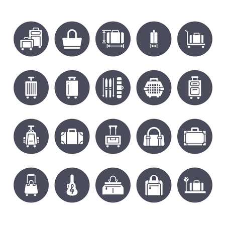 Luggage flat glyph icons. Carry-on, hardside suitcases, wheeled bags, pet carrier, travel backpack. Baggage dimensions and weight signs. Solid silhouette pixel perfect 64x64. Illustration
