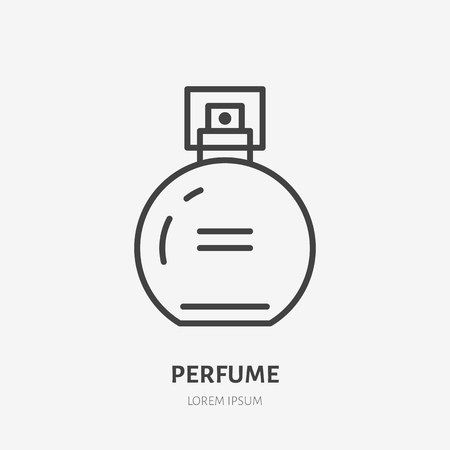 Perfume flat line icon. Beauty care sign, illustration of liquid in spray bottle. Thin linear logo for cosmetics store.