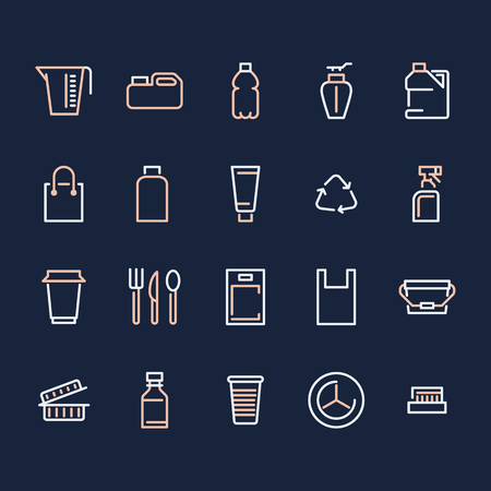 Plastic packaging, disposable tableware line icons. Product packs, container, bottle, canister, plates cutlery. Container thin signs, waste recycling. Pixel perfect 48x48