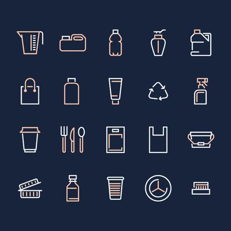 Envases de plástico, iconos de línea de vajilla desechable. Envases de producto, contenedor, botella, bote, platos cubiertos. Contenedor de letreros delgados, reciclaje de residuos. Pixel perfecto 48 x 48