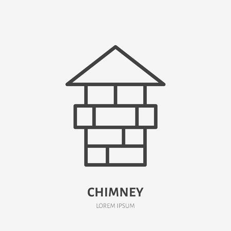 Chimney flat line icon. Real estate sign. Thin linear logo for home repair, construction services.