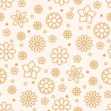 Floral seamless pattern with flat line icons of spring flowers. Flower background beautiful garden - daisy, chamomile, sunflower, daffodil, violet plant. Orange white color texture for kids fabric.