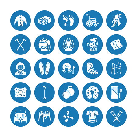 Orthopedics, trauma rehabilitation glyph icons. Crutches, mattress pillow, cervical collar, walkers, medical rehab goods. Health care signs for clinic, hospital. Solid silhouette pixel perfect 64x64. Ilustracja