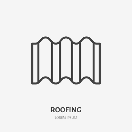 Roofing flat line icon. Illustration of ondulin wavy sheet, roof material. House construction sign. Thin linear logo for home repair services.
