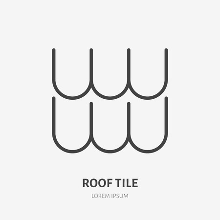 Roofing flat line icon. Illustration of composite tile roof material. House construction sign. Thin linear logo for home repair services.