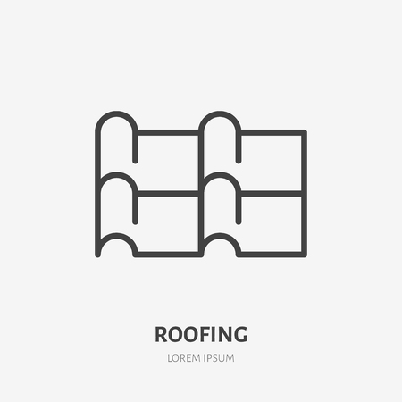 Roofing flat line icon. Illustration of metal tile roof material. House construction sign. Thin linear logo for home repair services. Stock Illustratie
