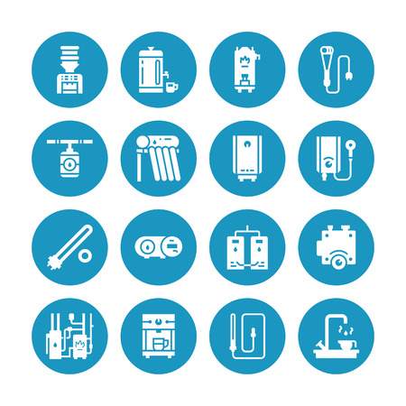 Water boiler, thermostat, electric gas solar heaters and other house heating appliances glyph icons. Equipment store signs. Solid silhouette pixel perfect 64x64. Stockfoto - 115158152