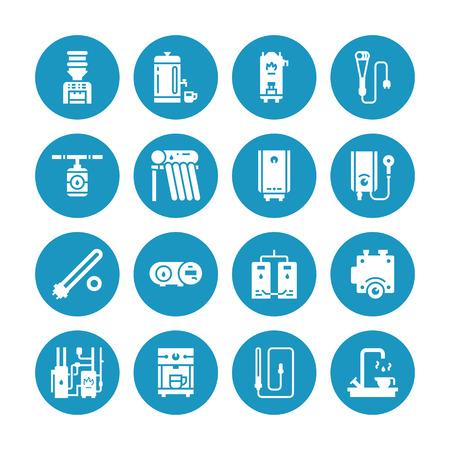 Waterkoker, thermostaat, elektrische zonneboilers op gas en andere huisverwarmingstoestellen glyph-pictogrammen. Uitrusting winkel tekenen. Solide silhouet pixel perfect 64x64.