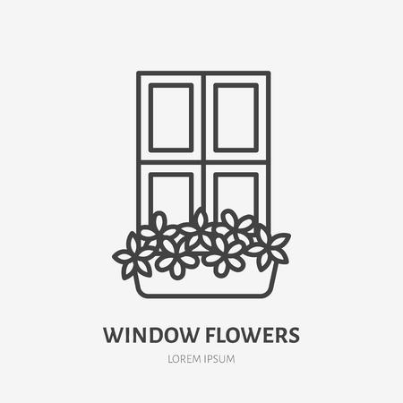 House flowers in flower pots on window flat line icon. Plants growing in flowerpot sign. Thin linear logo for gardening, planting.