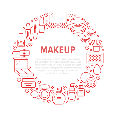Makeup beauty care red circle poster with flat line icons. Cosmetics illustrations of lipstick, mascara, powder, eyeshadows, nail polish, shampoo. Cute brochure with thin signs for make up store.