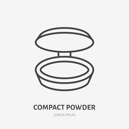Compact powder flat line icon. Makeup beauty care sign, illustration of foundation . Thin linear logo for cosmetics store.