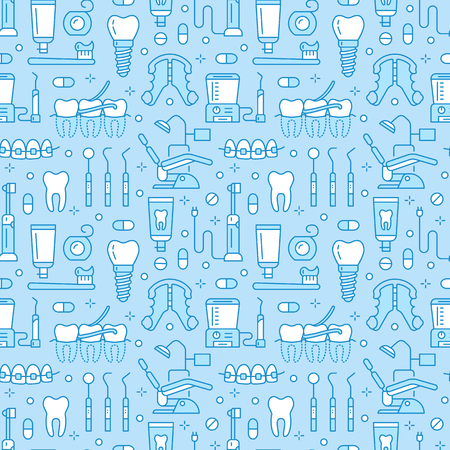 Dentist, orthodontics blue seamless pattern with line icons. Health care background for dentistry clinic. Dental care, medical equipment, braces, tooth prosthesis, floss, caries treatment, toothpaste.