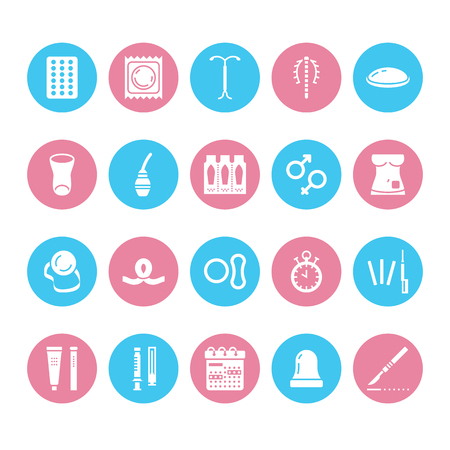 Contraceptive method flat glyph icons. Birth control equipment, condoms, oral contraceptives, iud, vaginal ring, sterilization. Safe signs for medical clinic. Solid silhouette pixel perfect 64x64.