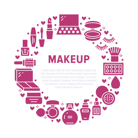Makeup beauty care red circle poster with flat glyph icons. Cosmetics illustrations of lipstick, mascara, powder, eyeshadows, nail polish, shampoo. Cute brochure with thin signs for make up store. 일러스트
