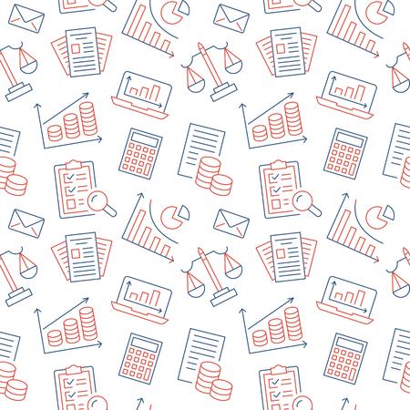 Modèle sans couture de comptabilité financière avec des icônes de ligne plate. Expérience en comptabilité, optimisation fiscale, prêt, paie, crédit immobilier. Comptabilité, financez des panneaux linéaires minces pour les services juridiques. Vecteurs