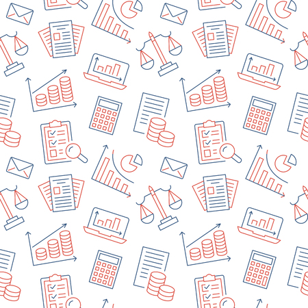 Financial accounting seamless pattern with flat line icons. Bookkeeping background, tax optimization, loan, payroll, real estate crediting. Accountancy, finance thin linear signs for legal services. Illustration