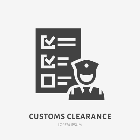 Customs clearance flat glyph icon. Policeman inspecting luggage sign. Solid silhouette logo for cargo trucking, freight services. 일러스트