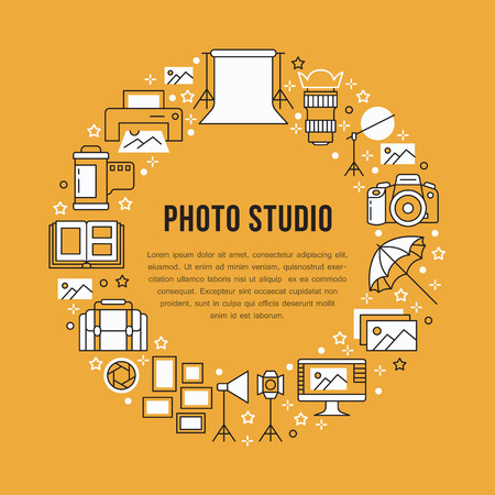 Photography equipment poster with flat line icons. Digital camera, photos, lighting video cameras, photo accessories memory card, tripod. Vector circle illustration, concept for photostudio brochure. Иллюстрация