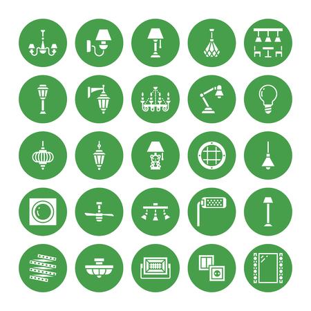 Lampadario, icone glifo piatte lampade. Apparecchiature di illuminazione per la casa e per l'esterno: lampadario, applique, lampadina, presa di corrente. Illustrazione vettoriale, segni per elettrico, negozio interno. Pixel perfetto 64x64.