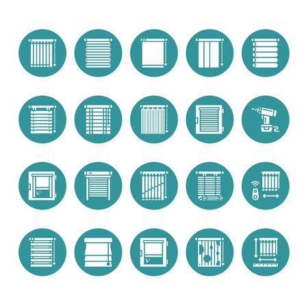Jaloezieën, tinten vector glyph pictogrammen. Diverse kamerverduistering, rolluiken, romeinse gordijnen, horizontale verticale jaloezie. Interieurontwerp solide silhouetborden voor huisdecoratiewinkel. Vector Illustratie