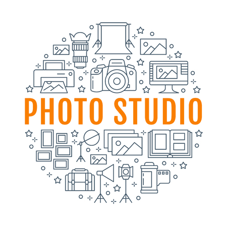 Photography equipment poster with flat line icons. Digital camera, photos, lighting video cameras, photo accessories memory card, tripod. Vector circle illustration, concept photostudio brochure. Иллюстрация