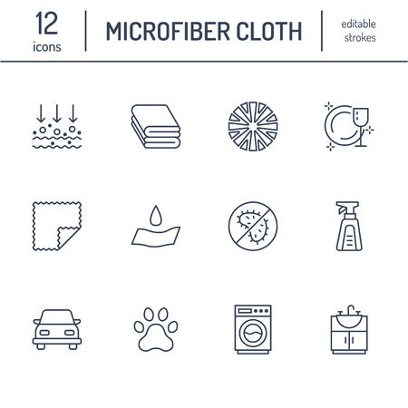 Iconos de línea plana de propiedades de tela de microfibra. Material absorbente, limpieza de polvo, lavable, antibacteriano, ilustraciones de detergente limpio. Señales finas para el paquete de servilletas. Trazos editables. Foto de archivo