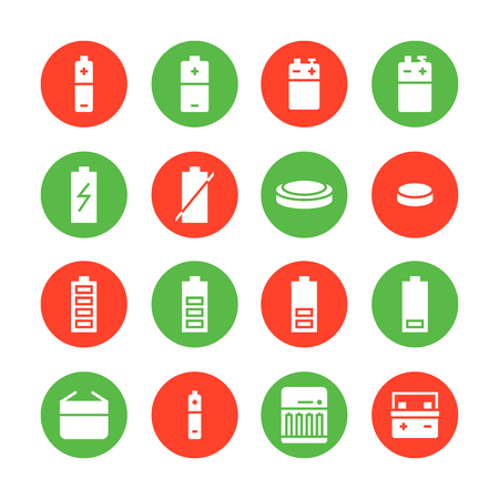 Battery flat glyph icons. Batteries varieties illustrations - aa, alkaline, lithium, car accumulator, charger, full charge. Signs for electrical store. Solid silhouette pixel perfect 48x48.