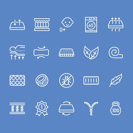 Flache Linie Ikonen der orthopädischen Matratze. Eigenschaften der Matratzen - Anti-Staubmilbe, Wirbelsäulenstütze, waschbarer Bezug, atmungsaktiv, Memory-Schaum, Bettwäsche-Illustrationen. Pixel perfekt 48x48. Bearbeitbare Striche. Vektorgrafik
