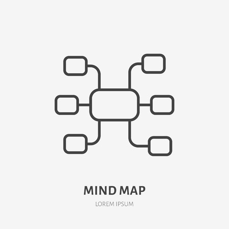 Mind map flat logo, project management, brainstorm icon. Data visualization vector illustration. Sign for business infographic.