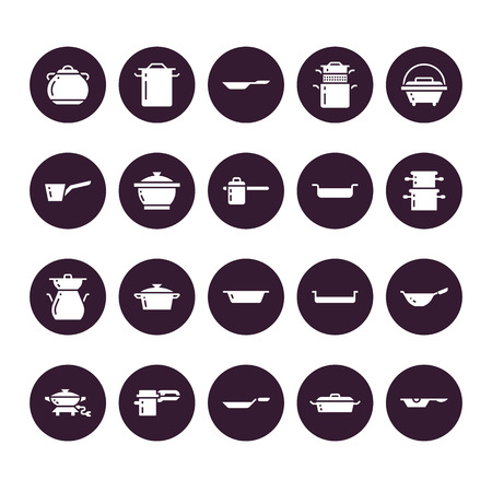 Pot, pan and steamer glyph icons. Restaurant professional equipment signs. Kitchen utensil - wok, saucepan, eathernware dish. Silhouette signs for commercial cooking store. Pixel perfect 64x64. 矢量图像