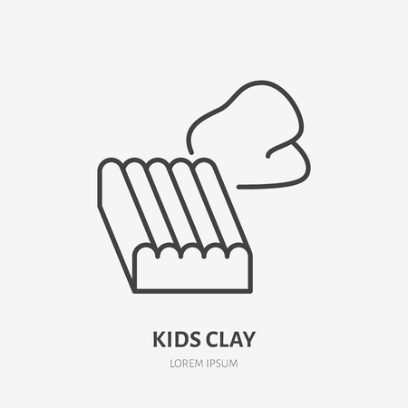 Kids clay flat logo, plasticine line icon. Early baby development, education vector illustration. Sign for kids shop. Illustration