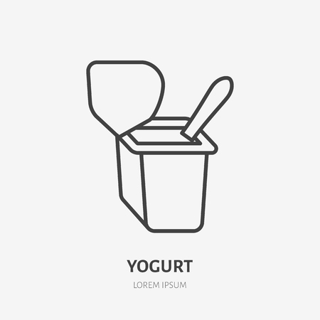 Yogurt with spoon flat logo, breakfast icon. Dairy product vector illustration. Sign for healthy food store.