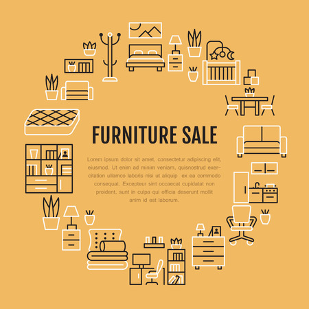 Furniture sale banner illustration with flat line icons. Living room, bedroom, home office chair, kitchen, sofa, nursery, lamp, sideboard thin linear signs. Circle template interior store poster.