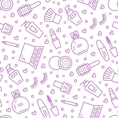 Makeup beauty care purple seamless pattern with flat line icons. Cosmetics illustrations of lipstick, mascara, perfume, eyeshadows, nail polish. Cute repeated background wallpaper signs make up store.