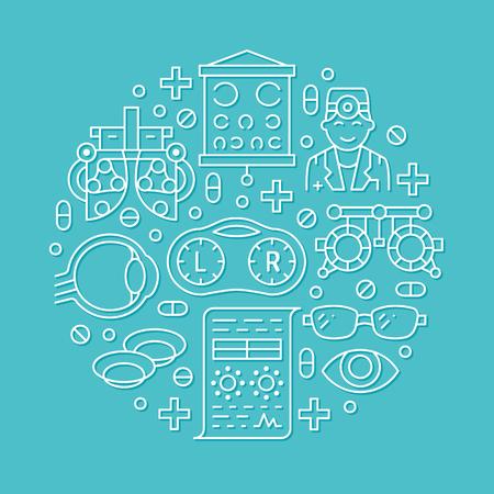 Ophtalmologie, portier de cercle de soins de santé yeux avec icônes de ligne. Matériel d'optométrie, lentilles de contact, lunettes, médecin, orbe. Signes de brochure de correction de la vue pour la clinique oculiste.