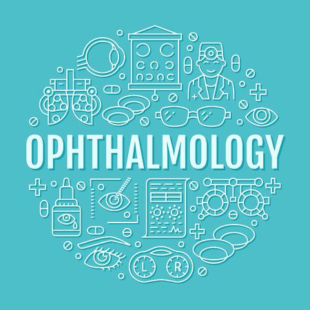 Ophtalmologie, portier de cercle de soins de santé yeux avec icônes de ligne. Signes de brochure de correction de la vue pour la clinique oculiste. Matériel d'optométrie, lentilles de contact, lunettes, médecin, orbe. Vecteurs