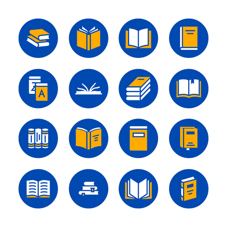 Books flat glyph icons. Reading, library, literature education illustrations. Signs for e-book store, textbook, encyclopedia. Solid silhouette pixel perfect 48x48. Blue white yellow color.