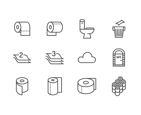 Toilet paper roll, towel flat line icons. Hygiene illustrations, mobile wc, restroom, tree layered napkin. Thin signs for household goods store. Pixel perfect 64x64. Editable Strokes. Illustration