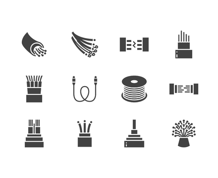 Optical fiber flat glyph icons. Network connection, computer wire, cable bobbin, data transfer. Signs for electronics store, internet services. Solid silhouette pixel perfect 64x64. Stock Photo
