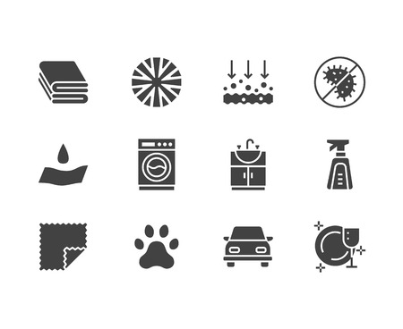 Microfiber cloth properties flat glyph icons. Absorbing material, dust cleaning, washable, antibacterial, clean detergent illustrations. Signs for napkin package. Solid silhouette pixel perfect 64x64. Banque d'images